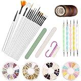 Kit de Nail Art Pinceau AIDUCHO 15 PCS Stylos à Ongles 5 PCS Dotting Pens Tool Nail Art 10 Rouleaux de Ruban et 4 Boîtes de Strass Paillettes Autocollants 1 Lime...
