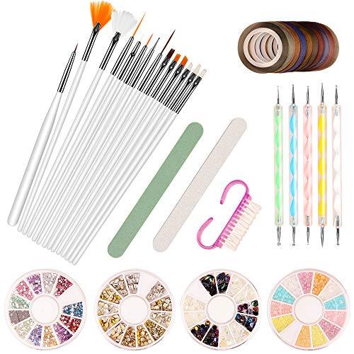 Nail Art Set, AIDUCHO Nageldisigns Kit mit 15 Nail Art Pinseln, 5 Punktierung Kugelschreiber, 10 Zierstreifen Striping Tape, 3D Gold und Silber Nagelschmuck, Nagelfeile & Griff-Nagelbürste