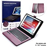 Cooper Infinite Executive Keyboard Case for 9, 10, 10.1 inch Tablets | 2-in-1 Bluetooth Wireless Keyboard and Leather Folio Cover (Dark Purple)