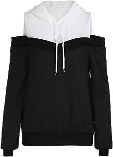 iYBUIA Womens Cotton Off Shoulder Long Sleeve Patchwork Hoodie Sweatshirt Hooded Pullover Tops Blouse