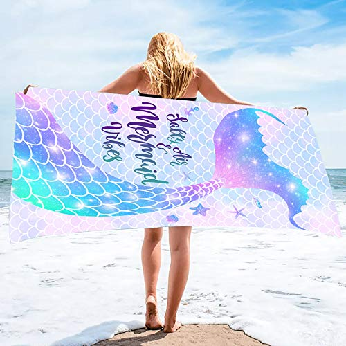 "Bonsai Tree Mermaid Beach Towel, Mermaid Tail Cute Microfiber Bath Towel for Girls, Mermaid Scales Sand Free Quick Dry Womens Travel Towels for Yoga Sports 31"" x 63"""