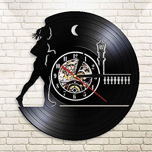 UIOLK Reloj de Pared con Registro de CD de Funcionamiento Nocturno, Registro de Vinilo en 3D, Reloj de Pared para el hogar