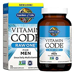 Garden of Life Vitamin Code Raw One for Men, Once Daily Multivitamin for Men, One a Day Mens Vitamins for Energy, Stress Response, Healthy Heart, Prostate, 75 Vegetarian Capsules (Packaging May Vary)