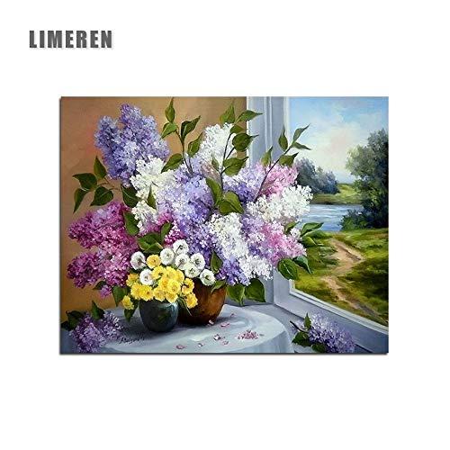 MBYWQ Verf Door Aantal Stilleven Bloemen Tafel Venster Kleurplaten Door Getallen(Zonder Framed)