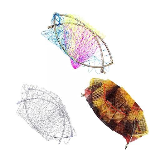 Red de inmersión de acero inoxidable malla de alambre de goma redonda red plegable con red de aparejos de pesca