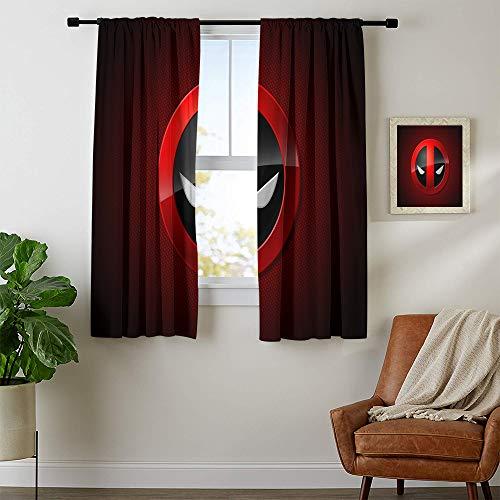 DILITECK Verdunkelungsvorhänge Deadpool Schlafzimmer Vorhänge Verdunkelungsvorhänge Druck Schiebegardinen für Terrassendekor B 132 x L 182 cm