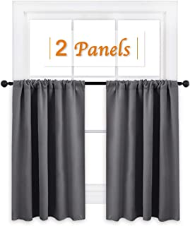 RYB HOME Short Curtains Gray Half Window Curtains for Bedroom, Thermal Insulated Privacy Curtain Tiers for Kitchen Cafe Bathroom Shades, Wide 42 x Long 36 inches per Panel, Grey, 2 Pcs