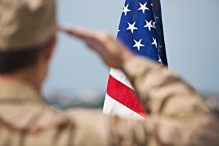 Soldier in Camouflage Fatigues Saluting Flag Photo Photograph Cool Wall Decor Art Print Poster 18x12