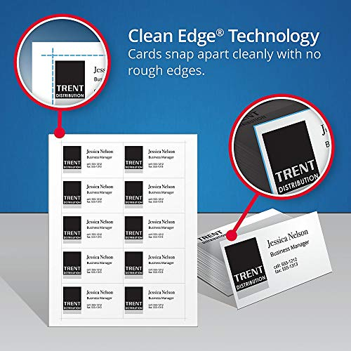Avery Printable Business Cards, Inkjet Printers, 200 Cards, 2 x 3.5, Clean Edge, Heavyweight, Glossy (8859), White