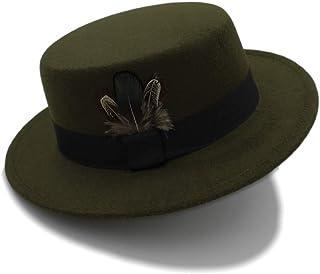 SHENLIJUAN New Pork Pie Hat Men Tan Wool Fedora Hats Winter Bowler Women Brown Felt Fedoras Hat Ribbon Bowknot Top Woolen Caps Wholesale (Color : Green, Size : 56-58CM)