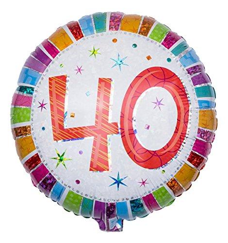 Ballongruesse - Ballon Zahl zum 40. Geburtstag, Radiant als Ballongruss im Überraschungskarton