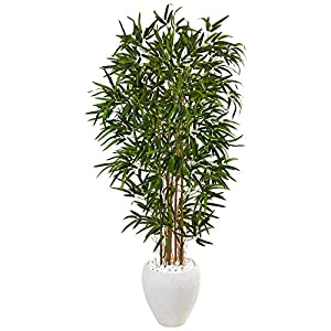 Nearly Natural 5' Bamboo Artificial Tree in Oval White Planter, Green