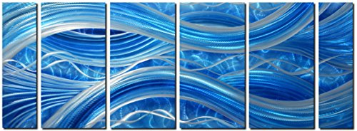 "MyArton Handmade Abstract Metal Wall Art with Soft Color, Large Scale Decor in Blue Line Design, 3D Artwork for Indoor Outdoor Wall Decorations, 6-Panels Metal Art Measure 24""x 65"""