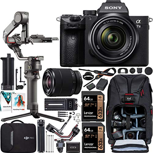 Sony a7 III Full-Frame Alpha Mirrorless Digital Camera a7III + 28-70mm Lens ILCE-7M3/K Filmmaker's Kit with DJI RS 2 Gimbal 3-Axis Handheld Stabilizer Bundle + Deco Photo Backpack + Software