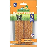 Happy Teeth Natural Cheese Dog Chews   Peanut Butter Flavor   Dental Chew   Protein Rich   Gluten Free - Lactose Free - Wheat Free - Soy Free   2 Happy Teeth Chews per Resealable Pouch