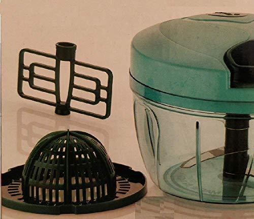 3 in 1 Handzerkleinerer mit Zugschnur, manuelle Küchenmaschine | Entsafter & Mixer-Aufsätze | scharfe Edelstahlklinge | 550 ml (blau/grün)