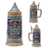 Stein Beer Mug with Matel Pewter Lid Stanley Steel Germany Oktoberfest Tankard Eagle Bierkrug Drinking Beer Glass Coats of Arms Relief Gifts Souvennirs
