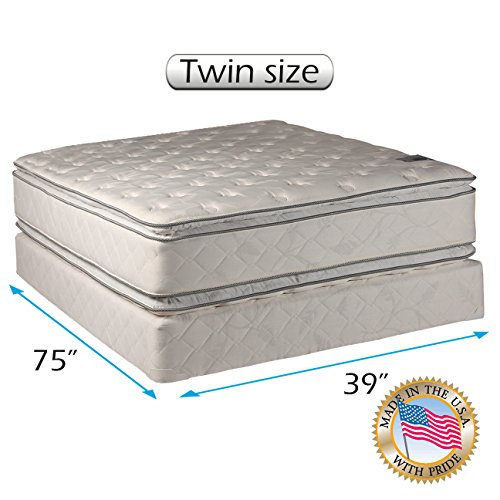 Best Buy! Dream Solutions Pillow Top Mattress and Box Spring Set - Double-Sided Sleep System with En...