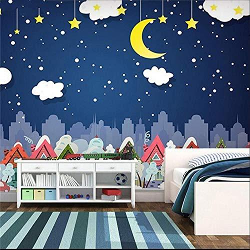 LYSBHX 3D Wallpaper Selbstklebend (B) 400X (H) 280Cm Kinderzimmer Tapete Cartoon Junge Mädchen Schlafzimmer Warme Wand Tuch Sterne Mond Weiße Wolken
