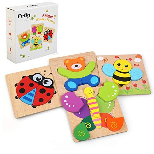 Felly Jouet Bebe - Puzzles en Bois, Jouets Montessori Enfant 1 2 3 4 Ans, Bébés Animaux Jeux...