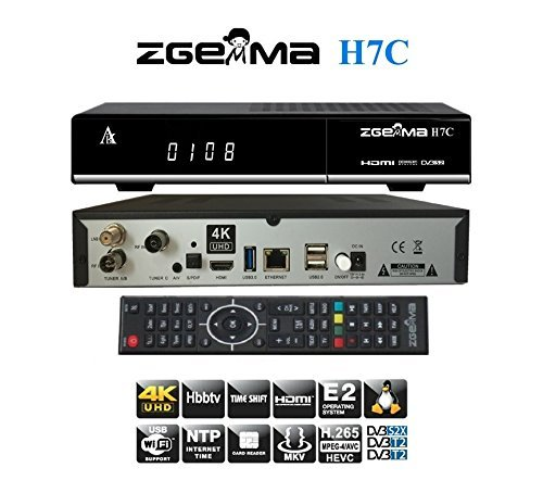 USB Wifi Zgemma H.7C 4K UHD Dual Core con DVB-S2/S2X+2*DVB-T2/C FTA Triplo Tuner Nuovo