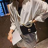 Bolsa bolsas de hombro bolsa de Crossbody cuadrado de la manera Pequeña bolsa de hebilla de la cerradura de la PU solo bolso del mensajero de las señoras cadena del bolso, tamaño: L (Negro) (Color: Ne