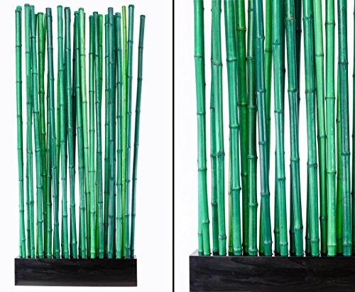 Bambus Raumteiler Paris2 mit ca. 90x12x205cm, Sockel und 27 Rohre grün 2,8-3,5cm - Sichtschutzwand Sichtschutzelement Sichtschutz Trennwand Büro Paravent Raumabtrennung