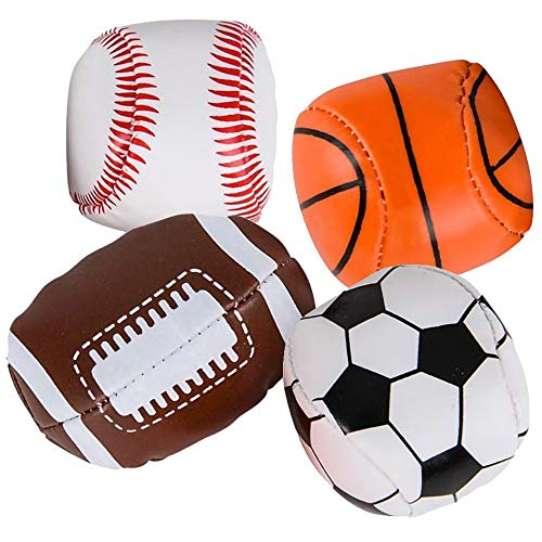 ArtCreativity Soft Stuff Sports Stress Balls, Set of 4, Includes Basketball, Football, Baseball, and Soccer Squeezable Anxiety Relief Balls, Cool Party Favors and Goodie Bag Fillers for Boys & Girls