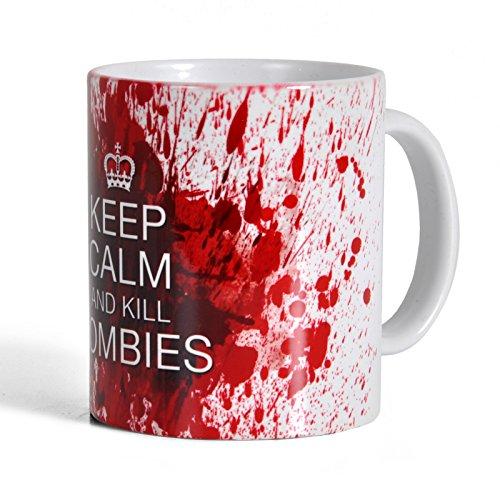 Elbenwald Kill Zombies TWD Tasse 300ml - Keramik weiß blutrot für Horror Serien Walking Dead Fans