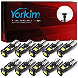 Yorkim Newest T10 LED Bulb Canbus Error Free 6-SMD Super Bright EMC Chipsets, 194 LED For Dome Map Door Marker License Plate Trunk lights 168 W5W 2825 Sockets Pack of 10, White