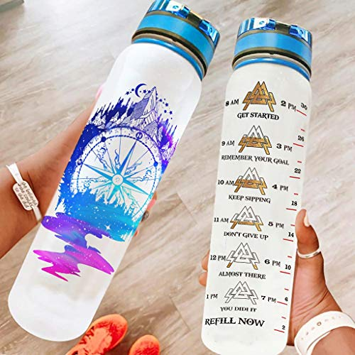 DAMKELLY Store Viking - Botella deportiva ligera con correa Crayy para entrenamiento, color blanco, 1000 ml