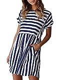 Naggoo Juniors Flowy Striped Dresses,Summer Blue and White Stripe Short Sleeve Dresses,Navy Blue,XL