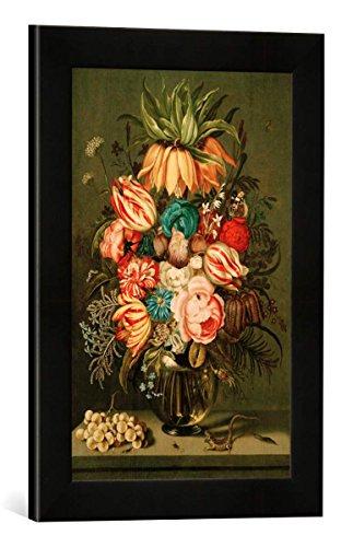 Gerahmtes Bild von Ambrosius Bosschaert der Jüngere Blumenstrauß in Glasvase mit Beiwerk, Kunstdruck im hochwertigen handgefertigten Bilder-Rahmen, 30x40 cm, Schwarz matt