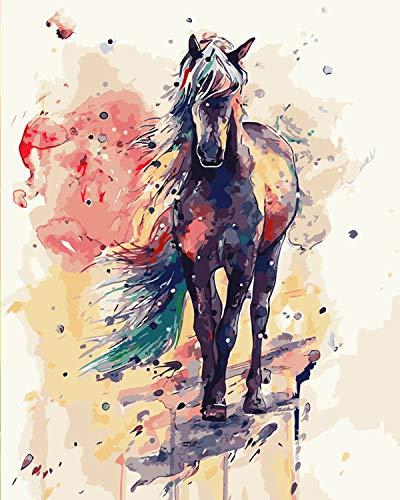 Malen Nach Zahlen Erwachsene Tiere, DIY Ölgemälde Vorgedruckt Leinwand, Paint by Numbers Geschenk für Home Wall Dekor, Malen Nach Zahlen Pferde 40*50 cm