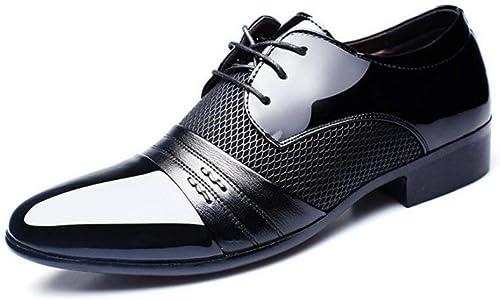 Hhor Chaussures pour Hommes, Chaussures d'affaires Classiques Classiques Confortables, Chaussures Chaussures Chaussures à Bout Pointu en Cuir de Printemps, soirée de Mariage décontracté, Noir, 45 a91