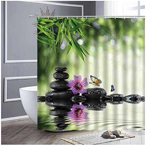 Jardín Zen Paisaje Cortinas de Ducha Piedra Negra Agua Hojas Verdes Flor púrpura Mariposa Paisaje Decoración de baño Ganchos Cortina-180x180cm