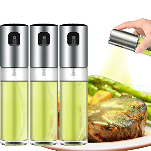 QQLK Oil Sprayer Olivenöl Sprüher zum Kochen - Essig & Ölflasche 100ml - Glas Olivenöl Flasche Behälter zum Grillen, Salat Machen, Kochen, Backen, Braten, Grillen,3pcs