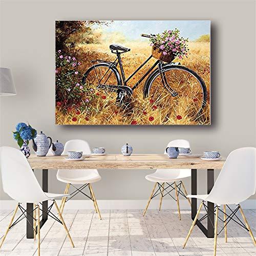 DIY 5D diamante pintura kit completo, Bicicleta Diamond Painting for adults/niños Grande Talla dot cristal Rhinestone punto de cruz bordado art decor de la pared del hogar Round Drill,40x60cm(16x24in)