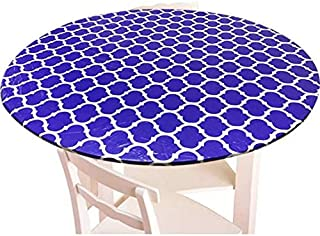 Xgood Tablecloth Cover Round Tablecloth Vinyl Tablecloth Cover Elastic Waterproof Round Colorful Tablecover with Flannel B...