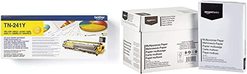 Brother TN-241Y | cartouche de toner original | Jaune & Amazon Basics Papier multiusage A4 80gsm, 5x500 feuilles, blanc