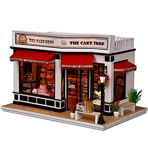 moin moin ドールハウス ミニチュア 手作りキット セット 赤い ルーフ の ケーキ屋さん ケーキ カフェ   大型 1/24   LEDライト + オルゴール 2104DH243