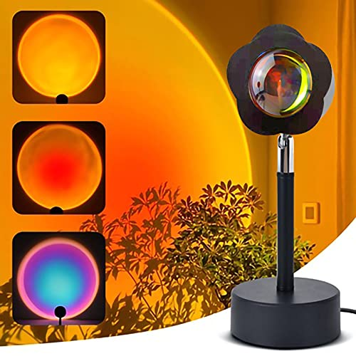 Clicked Sunset Projector Light Rainbow Led Projection Floor Lamp 180 Degree Rotation USB Night Light, Romantic Lamps with Remote Control and 7 RGB Colors for Bedroom Living Room Decors