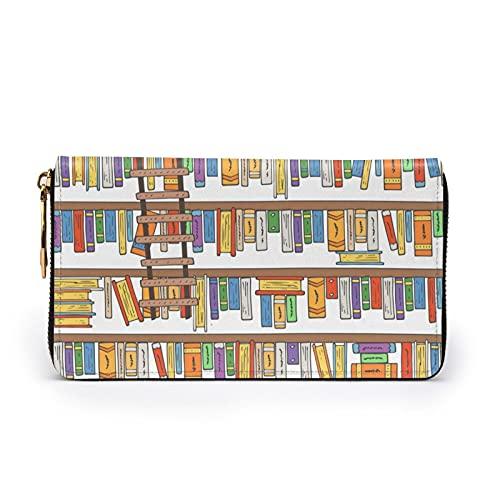 Lobo - Cartera de piel con cremallera para mujer, Divertida colección de estantes para libros y escalera, Talla única,