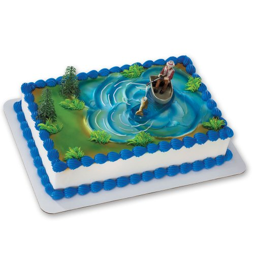 Fisherman in Boat with Action Fish Cake Decoration Kit