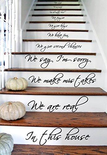 (44x80 cm) In this House We Do, We Love, Con Texto, De Vinilo, Para Escaleras O Pared Pegatina Vinilo Arte Mural Adhesivo