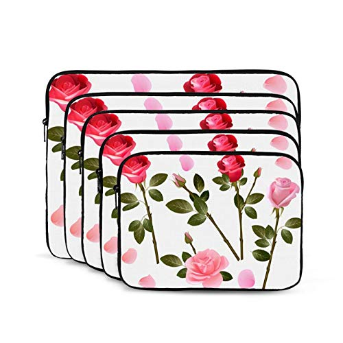 Laptop Carrying Case Multifunctional Work Travel Study Portable Computer Bags Rose Collection-10 inch
