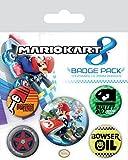 1art1 Super Mario, Kart 8, 1 X 38mm & 4 X 25mm Chapas Set De Chapas (15x10 cm) Y 1x Pegatina Sorpresa