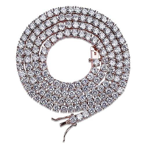 HMMJ Unisex Full Zircon Single Row 4 mm Hip-Hop Collar Cadena de Tenis Cadena de Tenis NK17090011 (Color : Rose Gold, Size : 16inch)