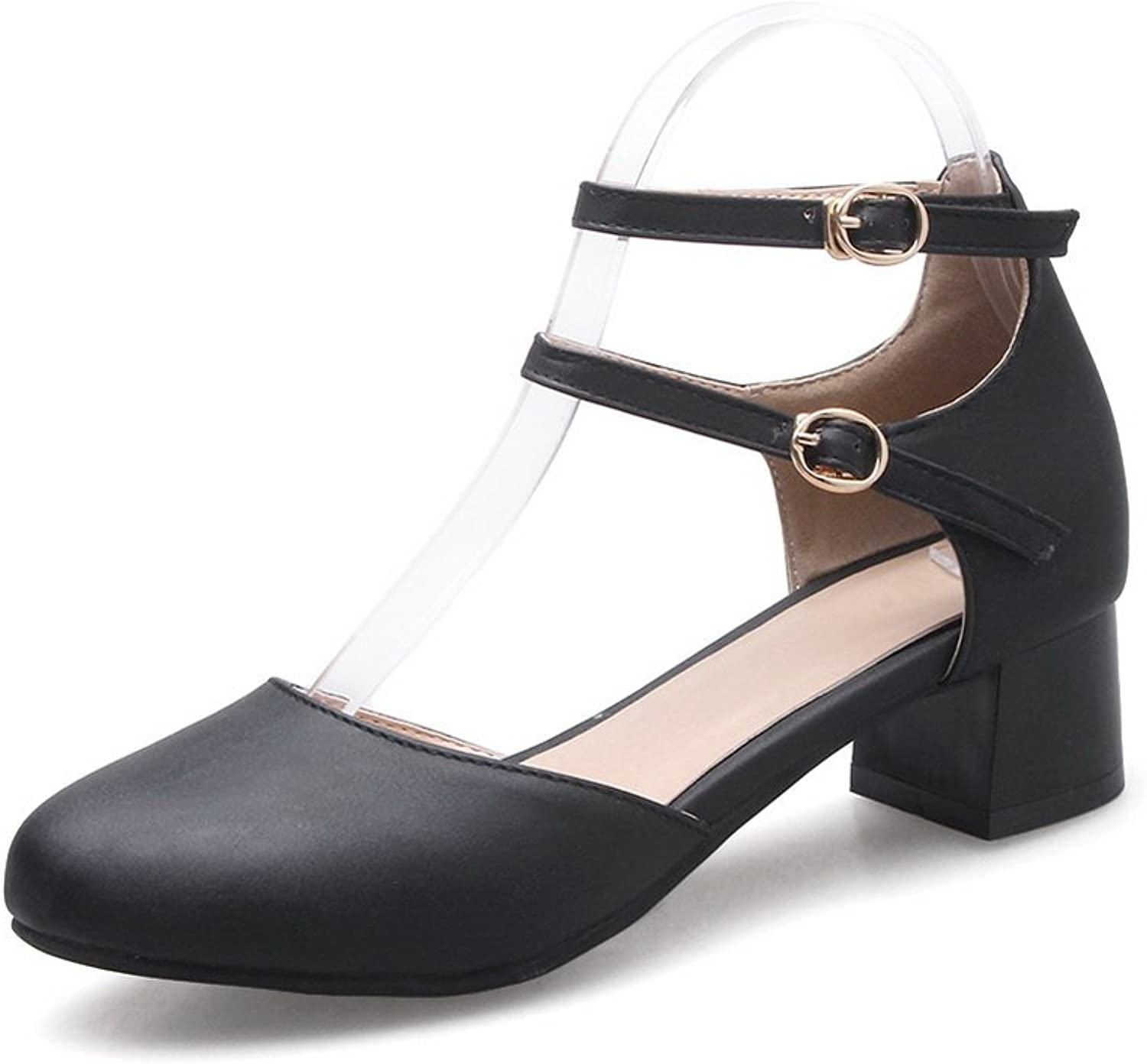 BalaMasa Womens Buckle Chunky Heels Round-Toe Microfiber Pumps shoes