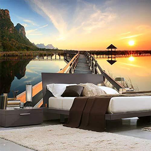 BHXIAOBAOZI Eigen 4D muurschildering groot behang, houten brug over het water bij zonsondergang, moderne Hd zijde muurschildering poster afbeelding TV sofa achtergrond muur decoratie voor woonkamer 380cm(W)×240cm(H) 12.46×7.87 ft